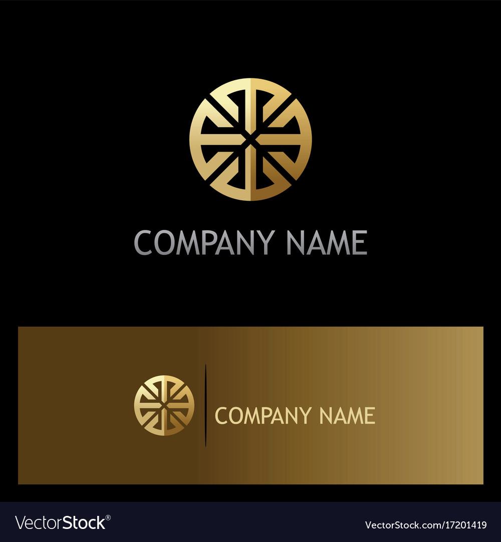 Round geometry ornament gold logo