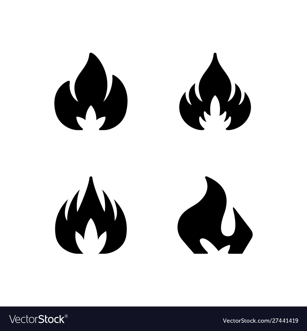 Set glyph icons fire or flame