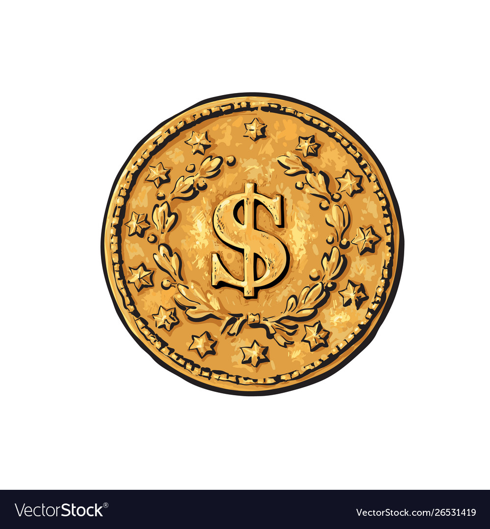 Sketch old gold coin with dollar sign hand