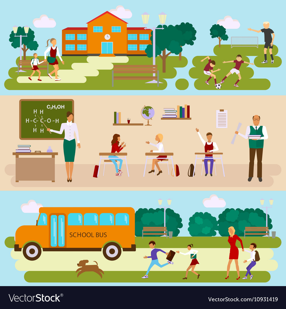 Three templates with school scene vector image