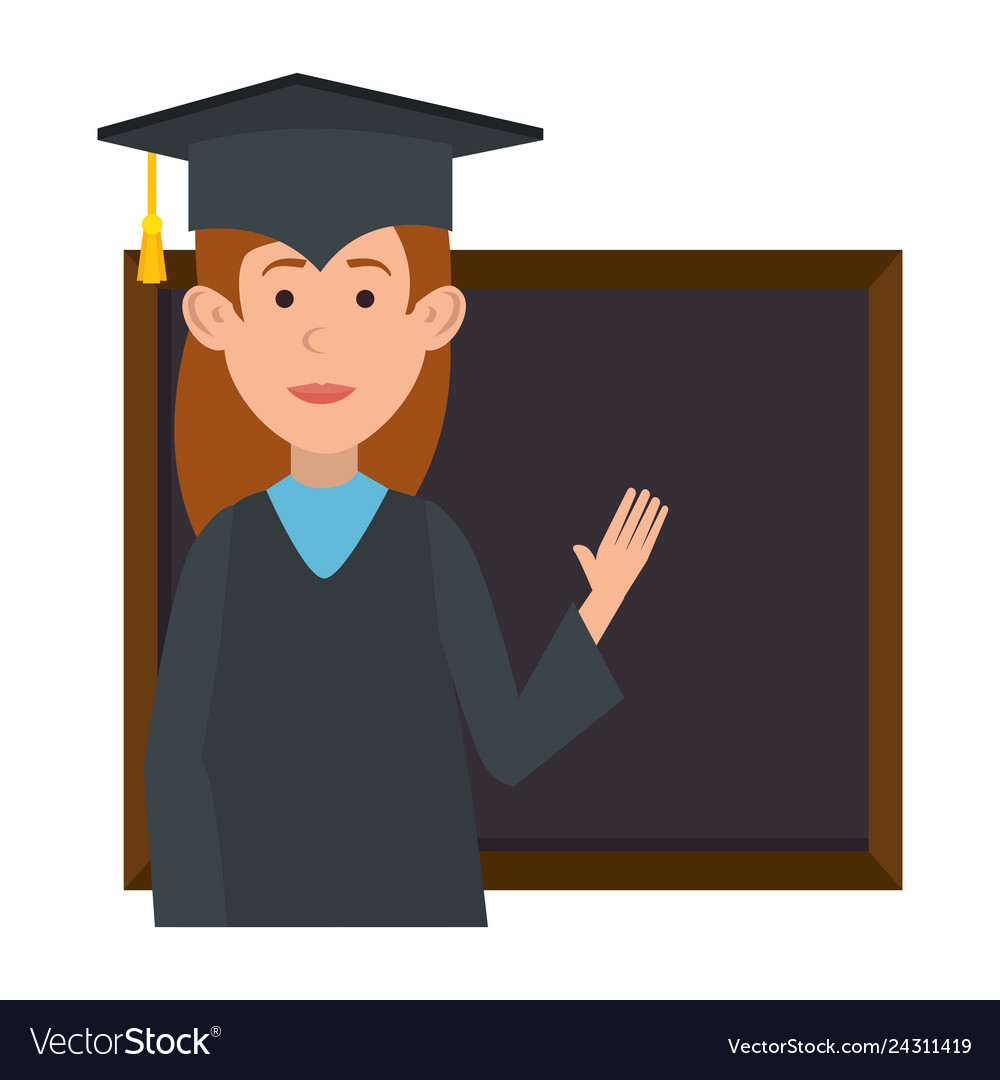 Woman student graduated with chalkboard