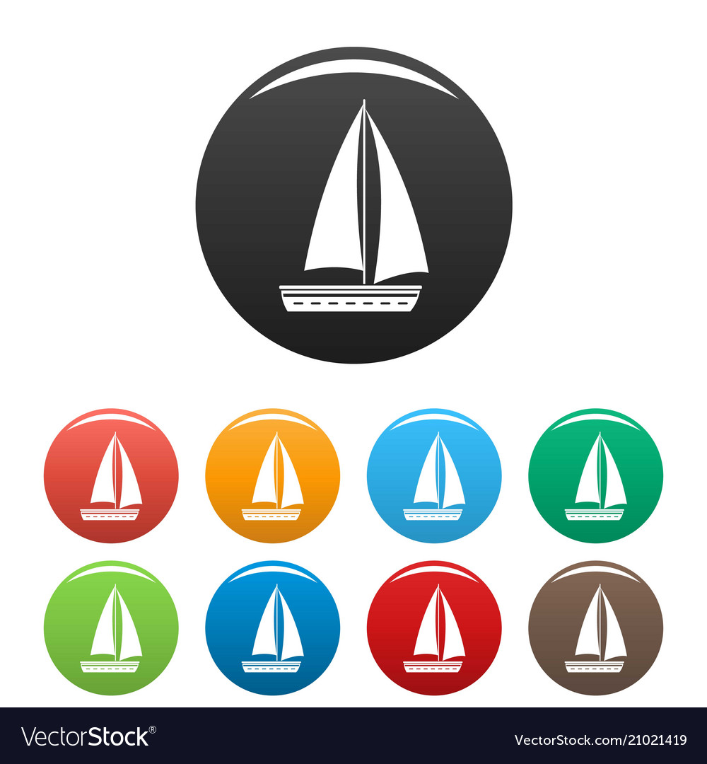 Yacht travel icons set color