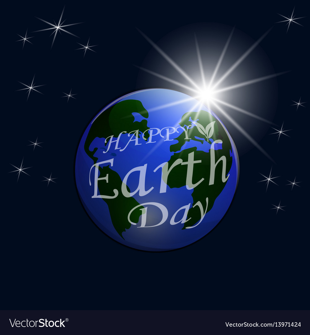 An inscription with a wish for happy earth day a