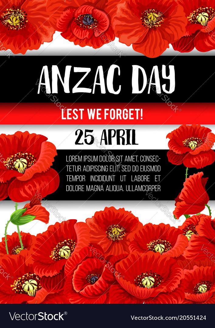 Anzac Day Poppy Flower Memorial Banner Design Vector Image