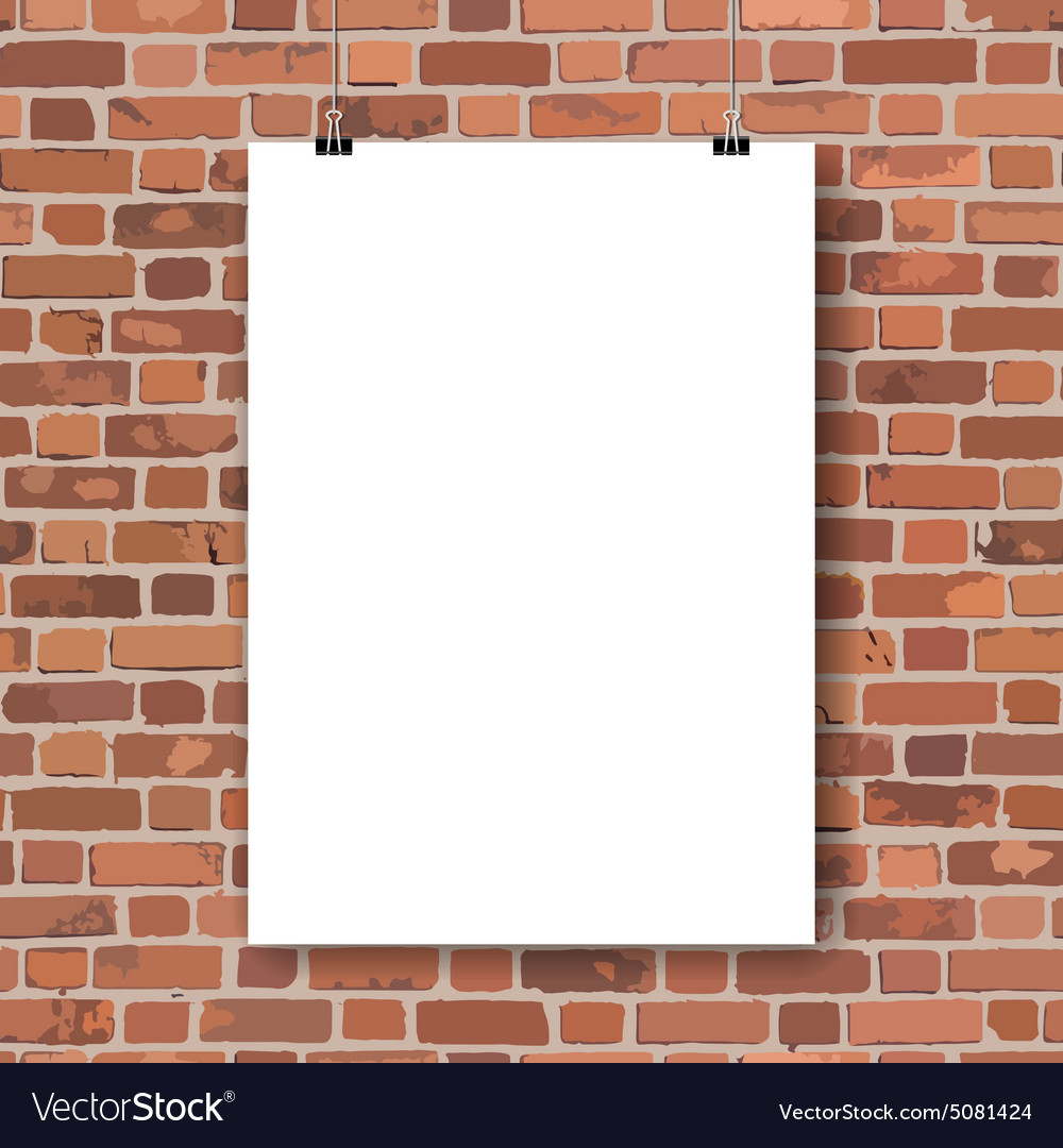 blank poster on red brick wall royalty free vector image
