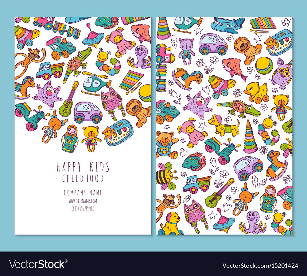 brochure pages of children and toys royalty free vector