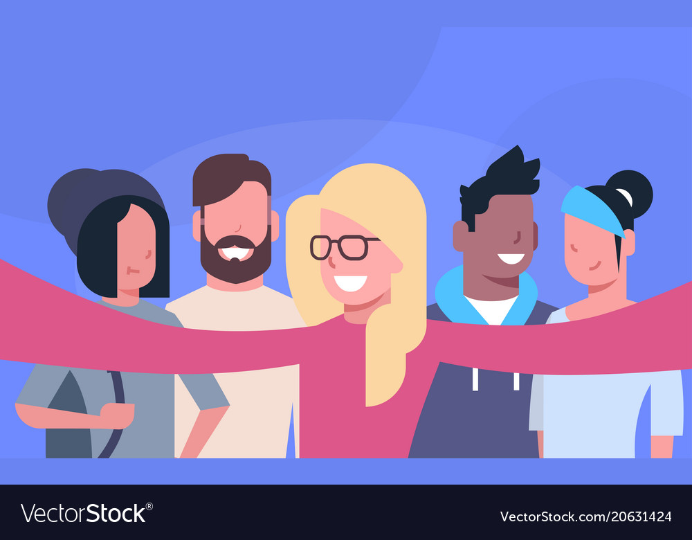Casual people group taking selfie photo together vector image