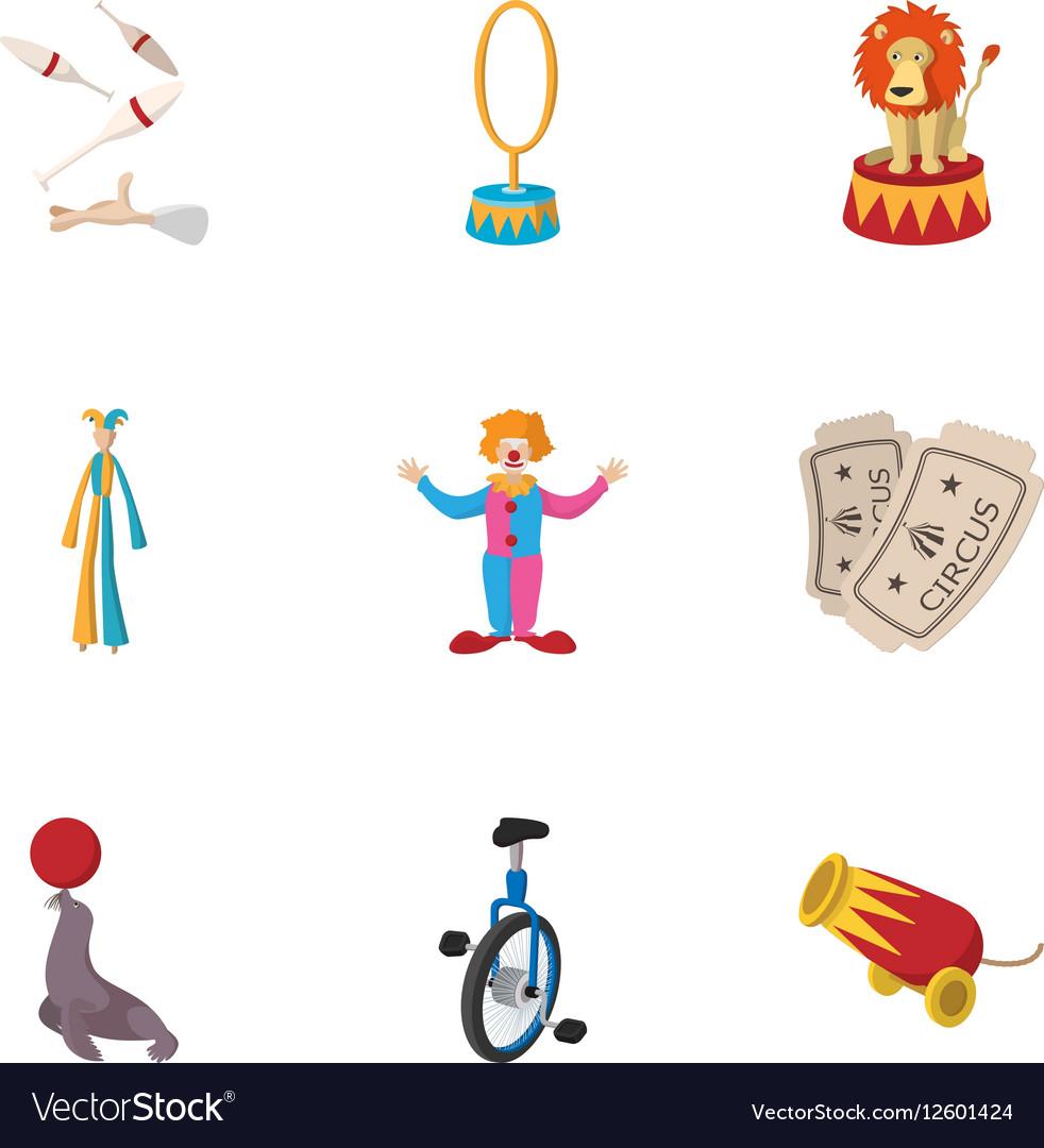 Circus performance icons set cartoon style