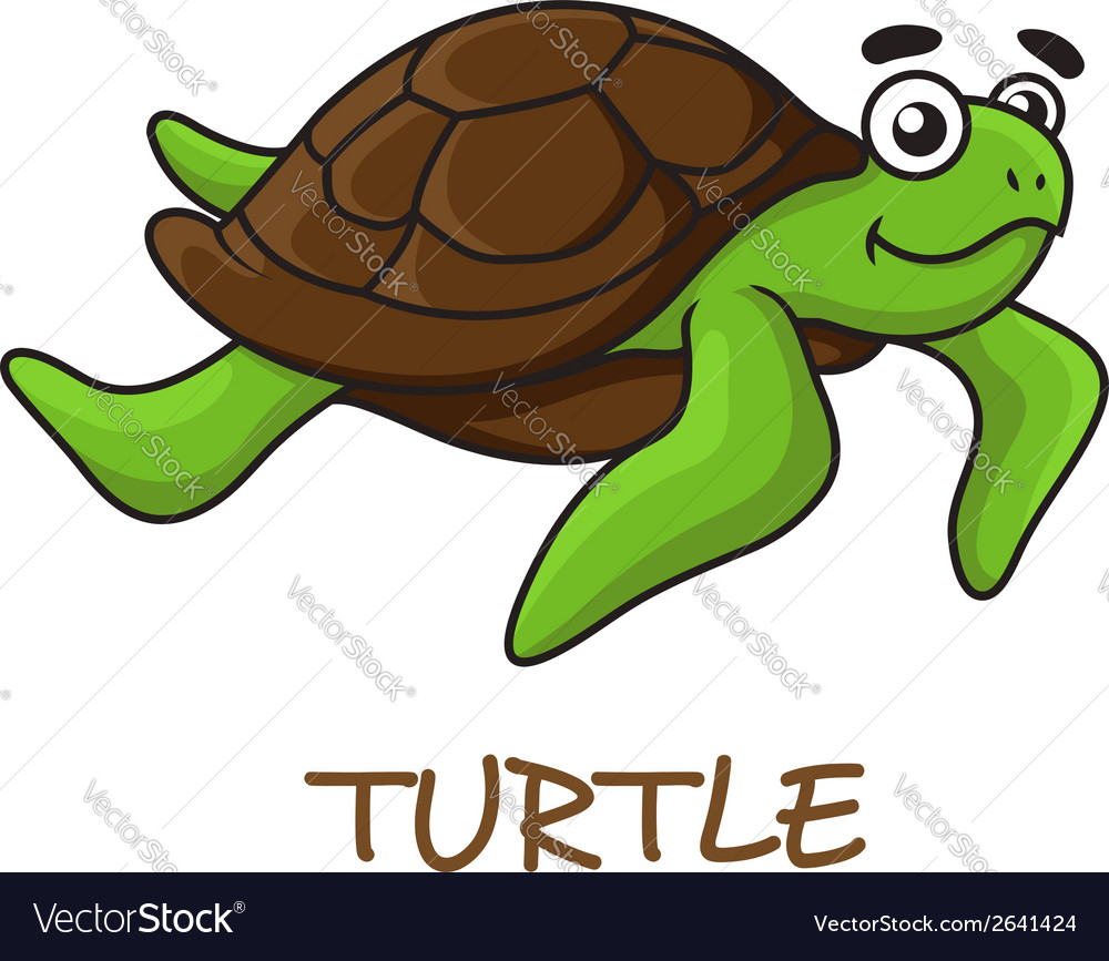 Cute happy cartoon turtle swimming