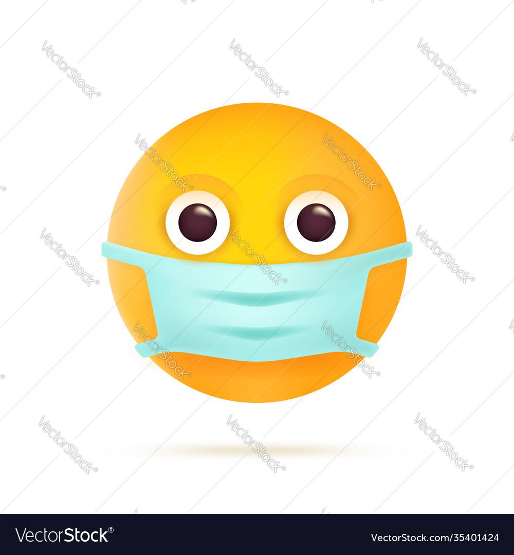 Emoticon with medical mask coronavirus emoji