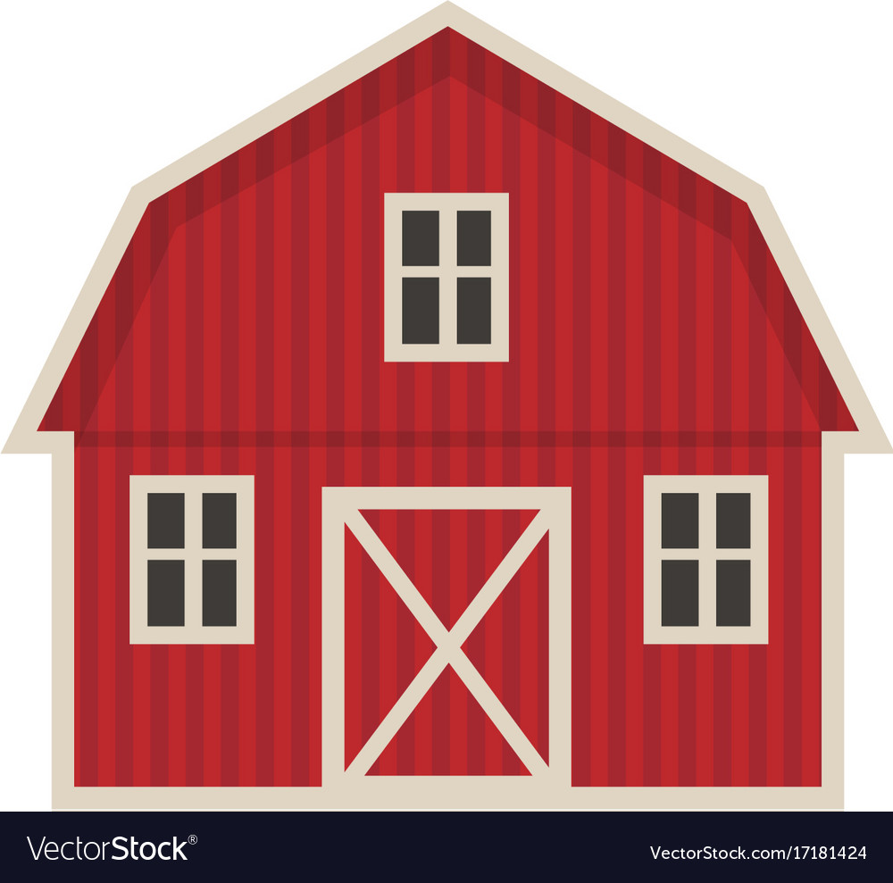 Farm building icon flat style isolated on white