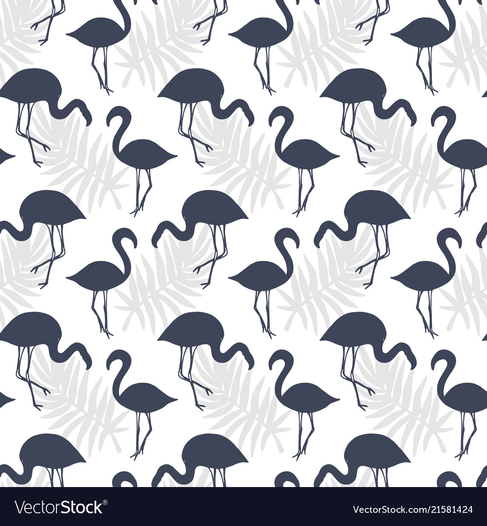 Flamingo birds seamless pattern
