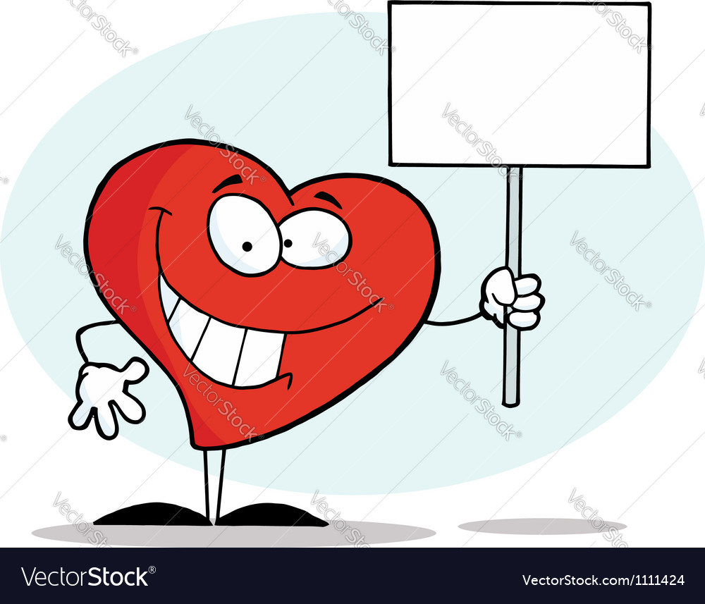 Grinning Heart Holding A Blank White Sign