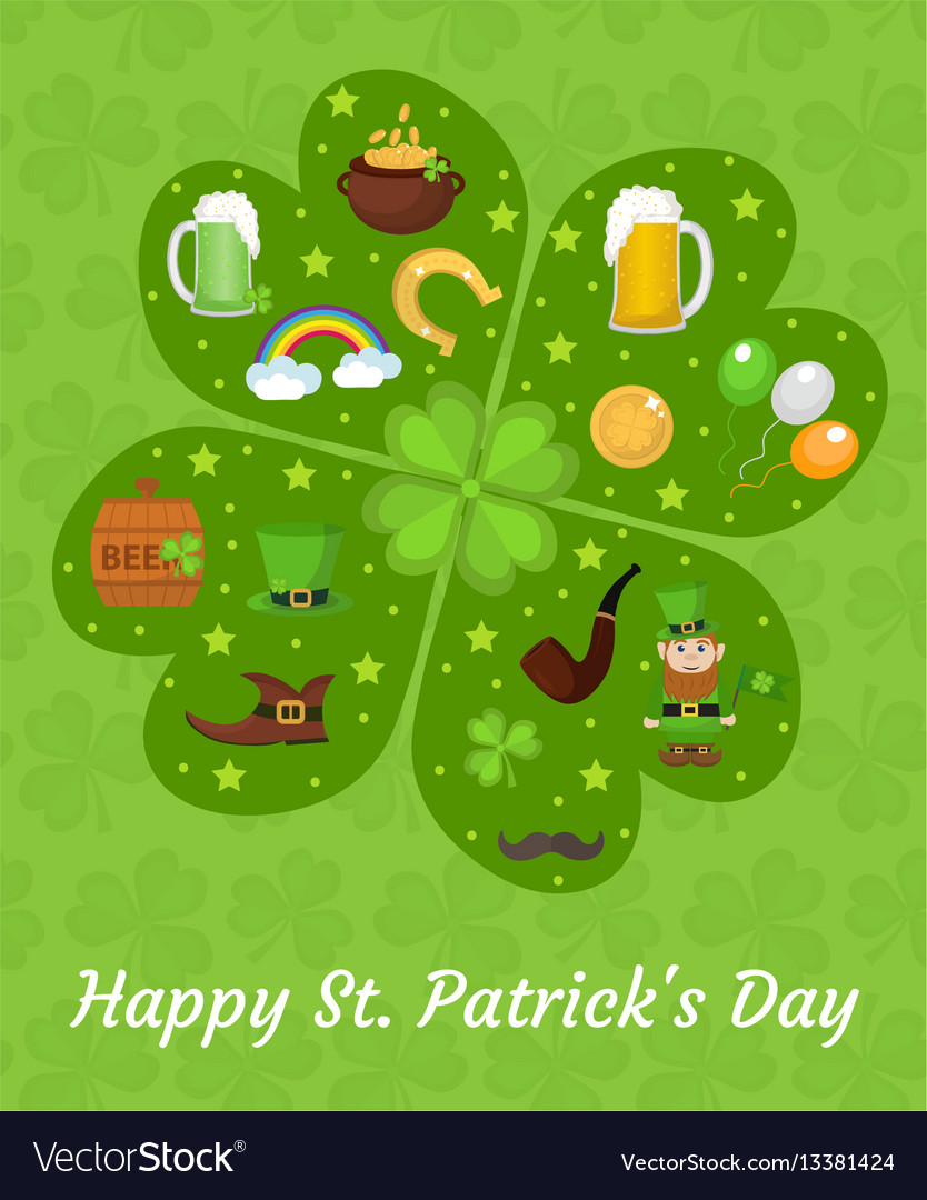 Happy st patricks day greeting card template vector image