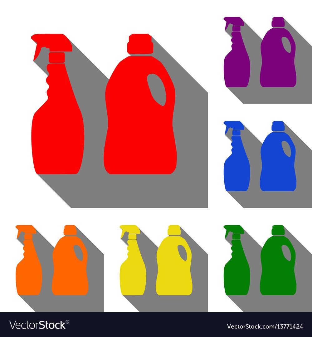 Household chemical bottles sign set of red