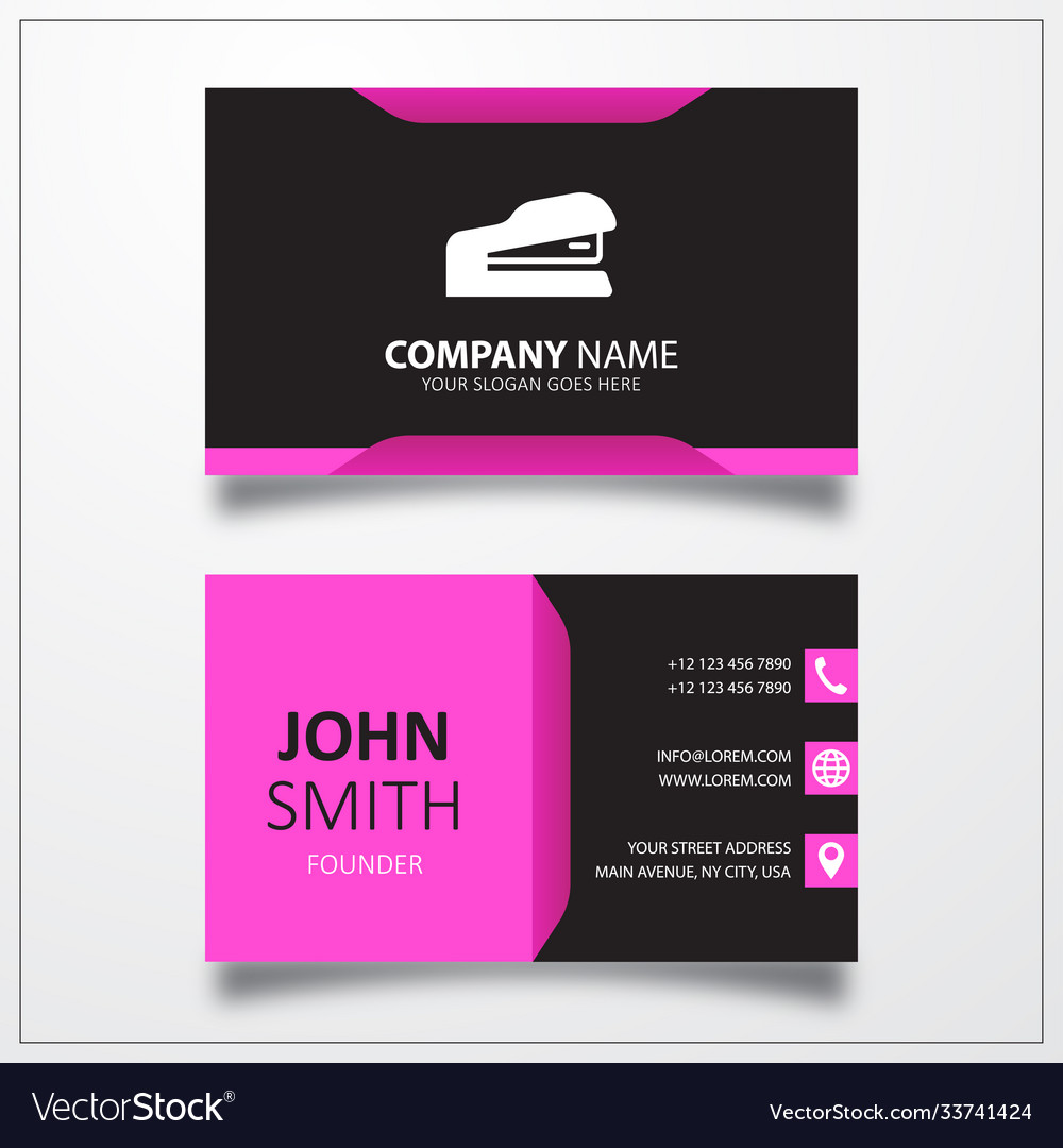 Office stapler icon business card template