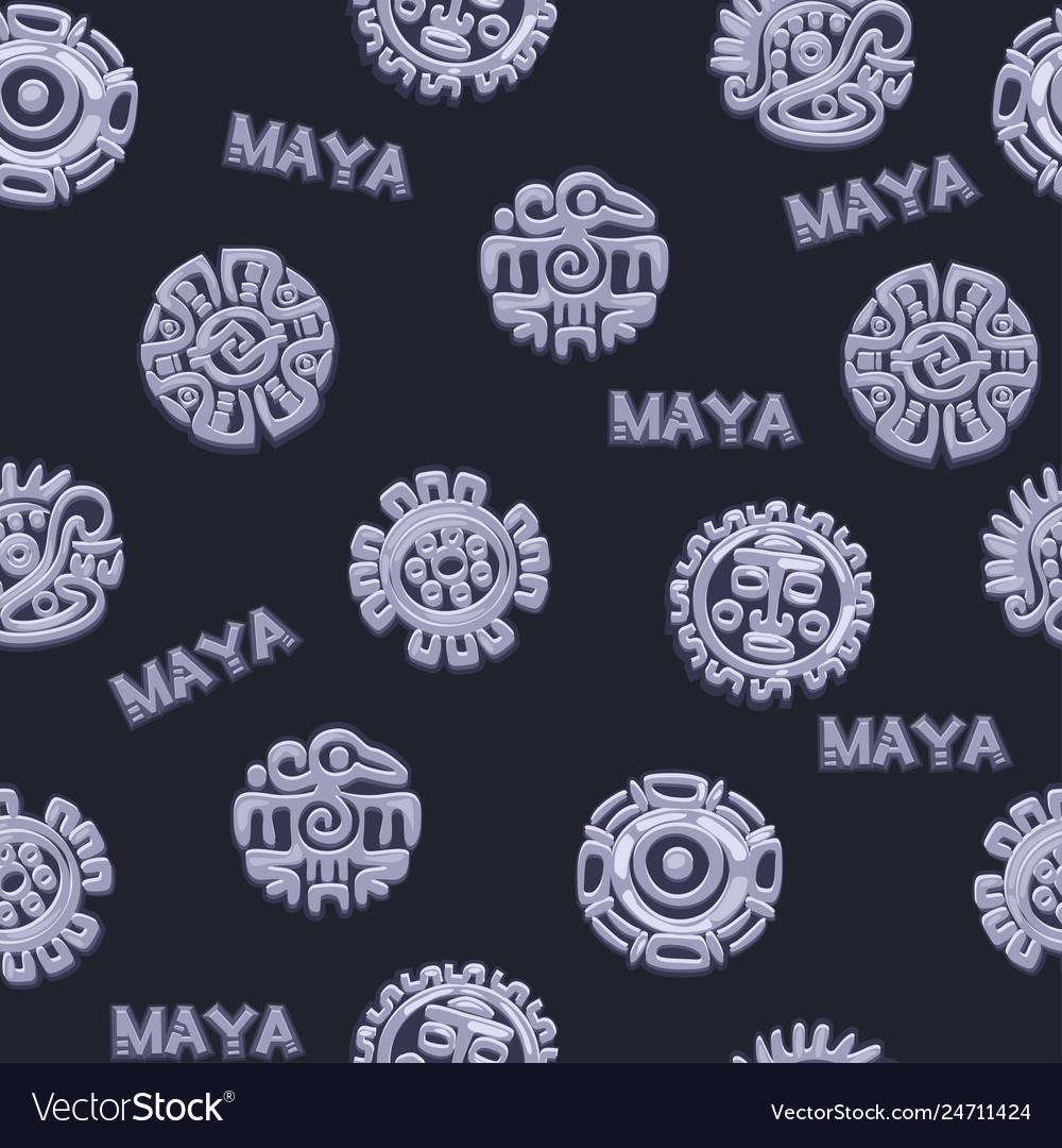 Seamless pattern ancient mexican mythology symbol
