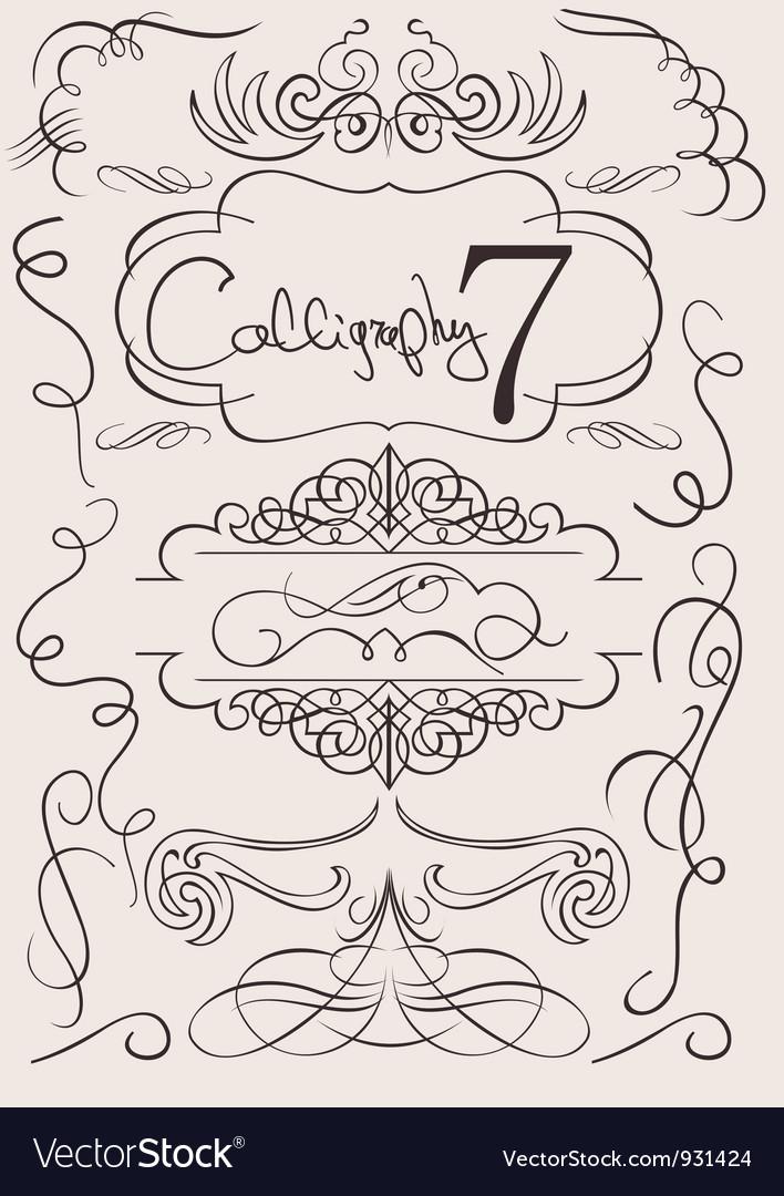 Set calligraphic design elements and page decorati