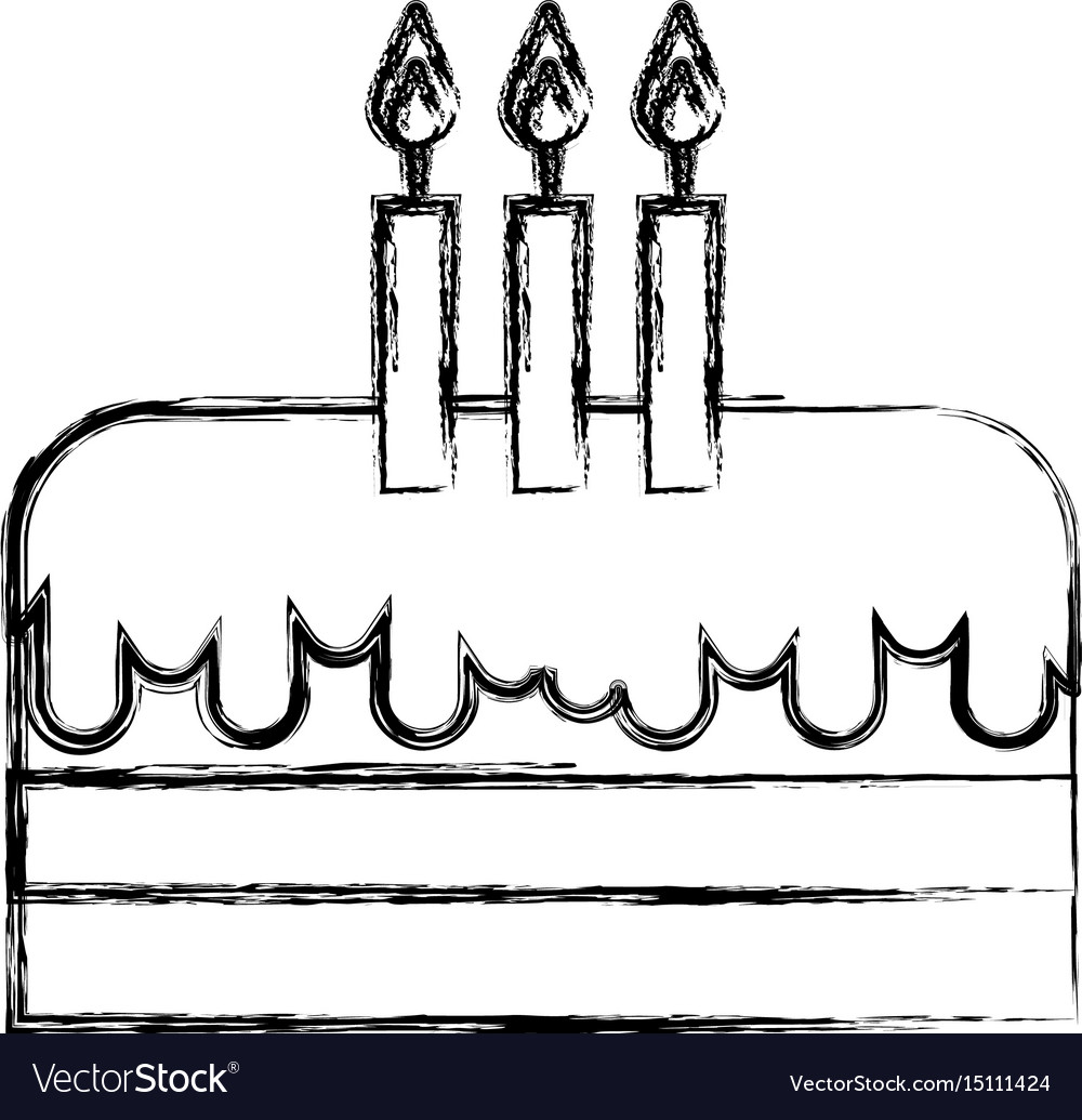 Incredible Sketch Draw Birthday Cake Cartoon Royalty Free Vector Image Funny Birthday Cards Online Alyptdamsfinfo
