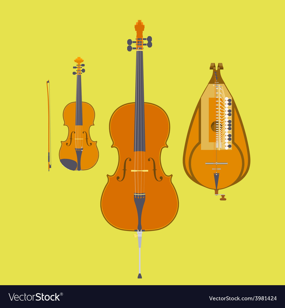 Violin Violin Bow Cello and Hurdy-Gurdy Royalty Free Vector