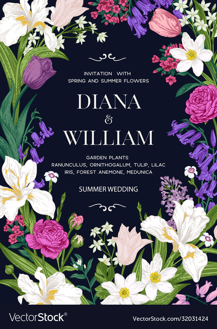 Wedding invitation with garden flowers