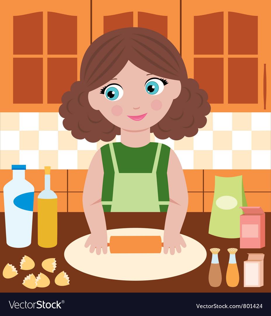 Woman prepares dough vector image