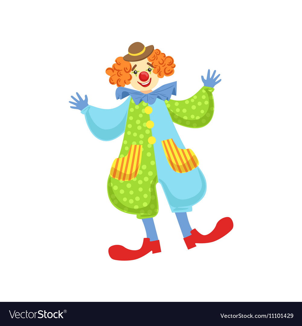 9d5234eb9d41d Colorful Friendly Clown In Bowler Hat In Classic Vector Image