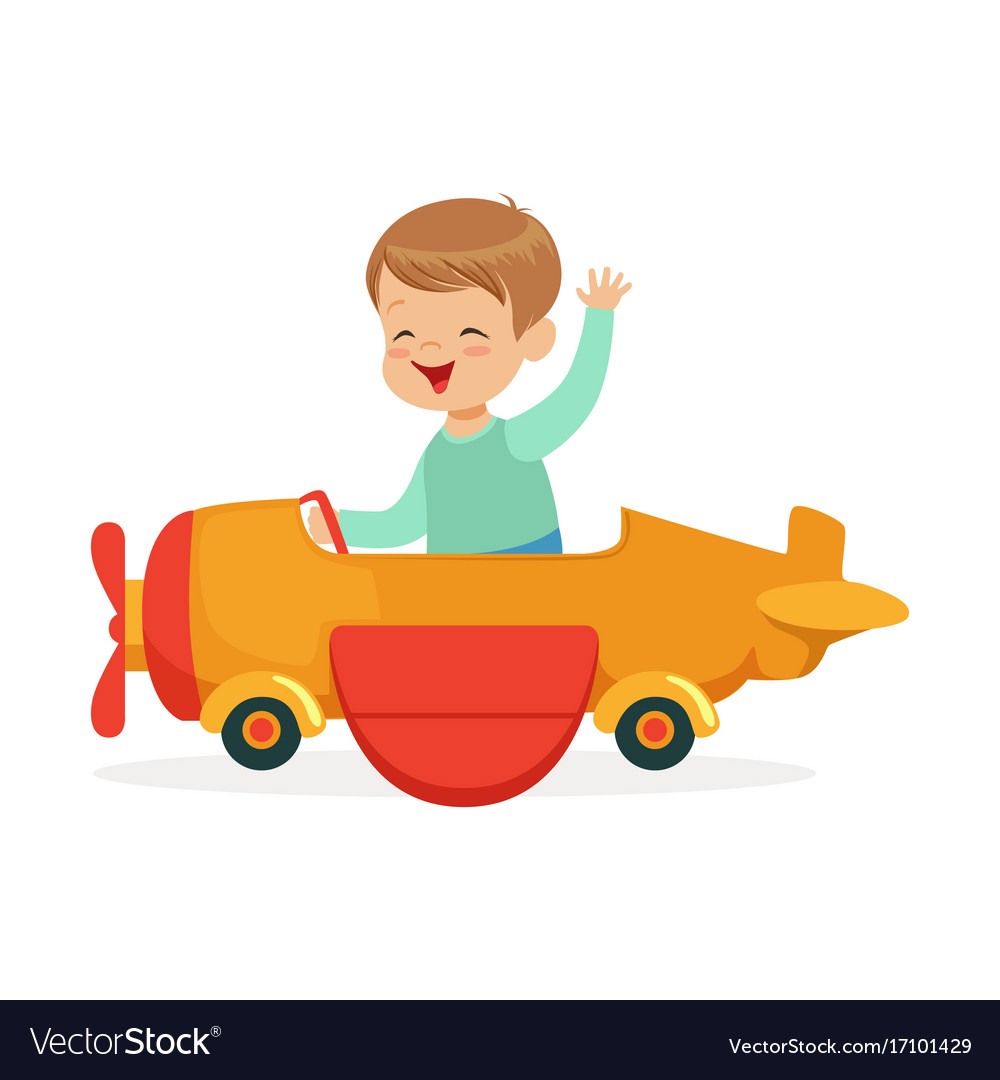 Cute little boy riding on toy airplane kid have a vector image