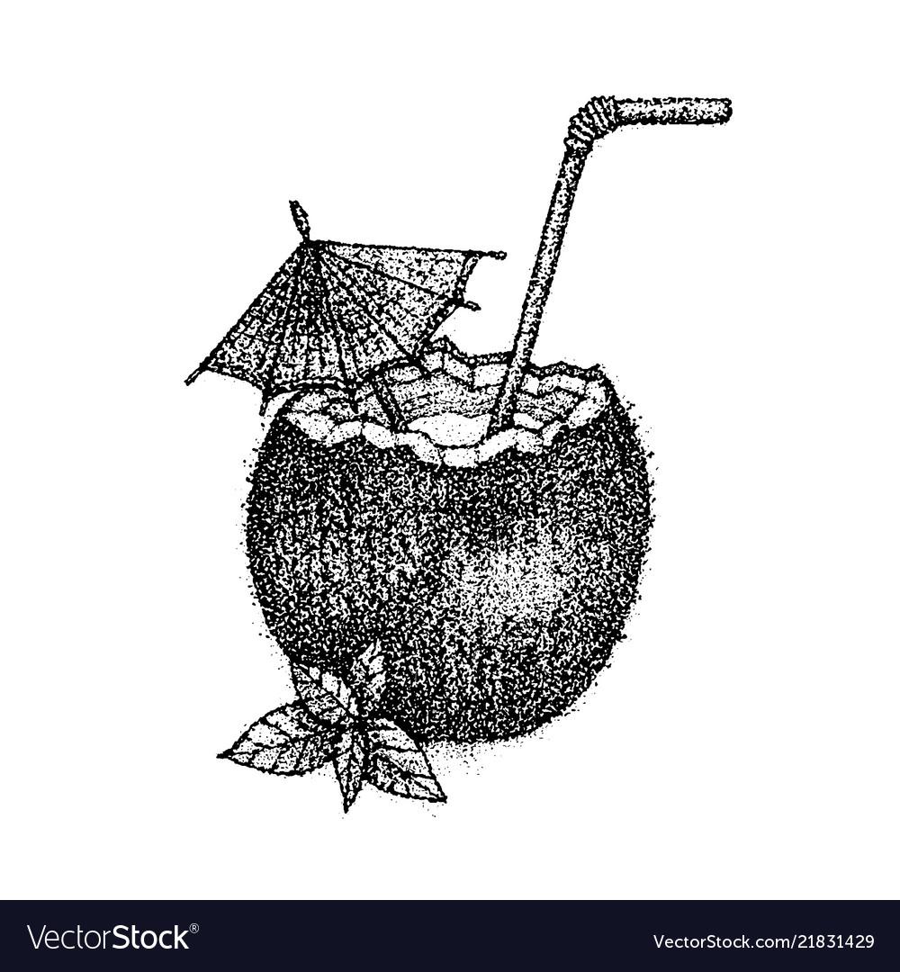 Dotwork coconut cocktail