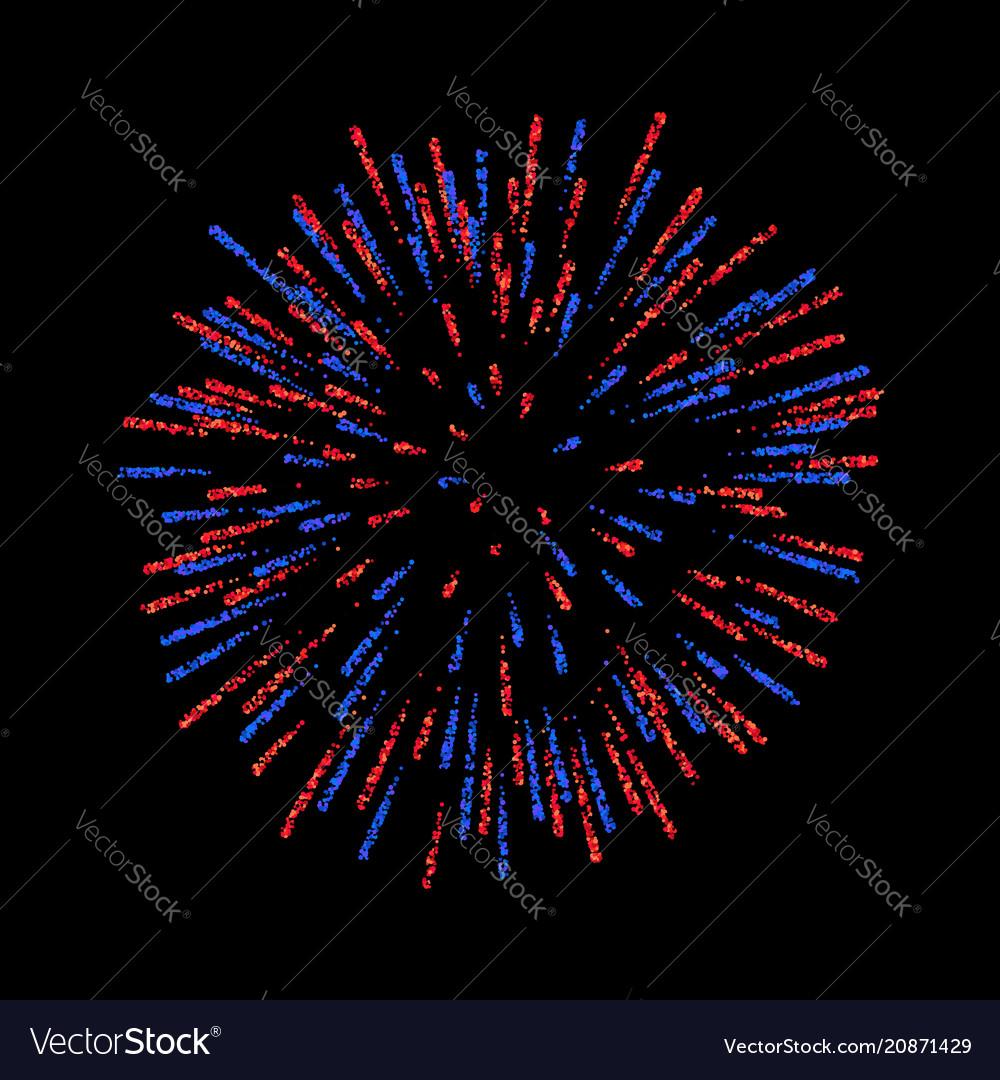Firework isolated beautiful salute on black