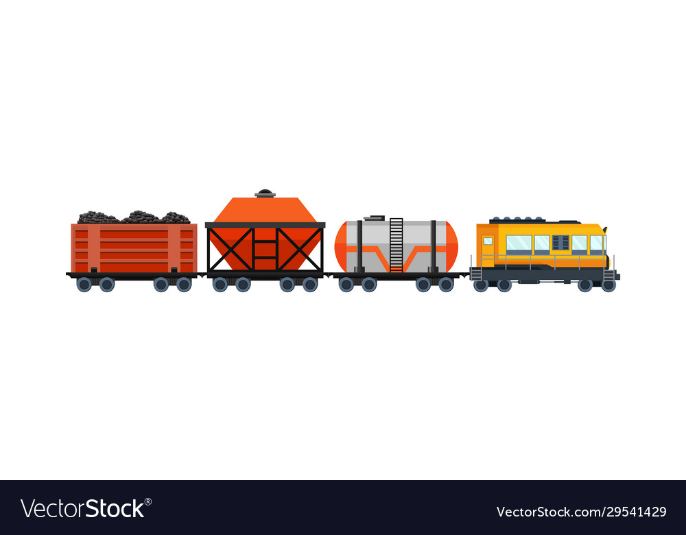 Freight train cargo cars with container and box