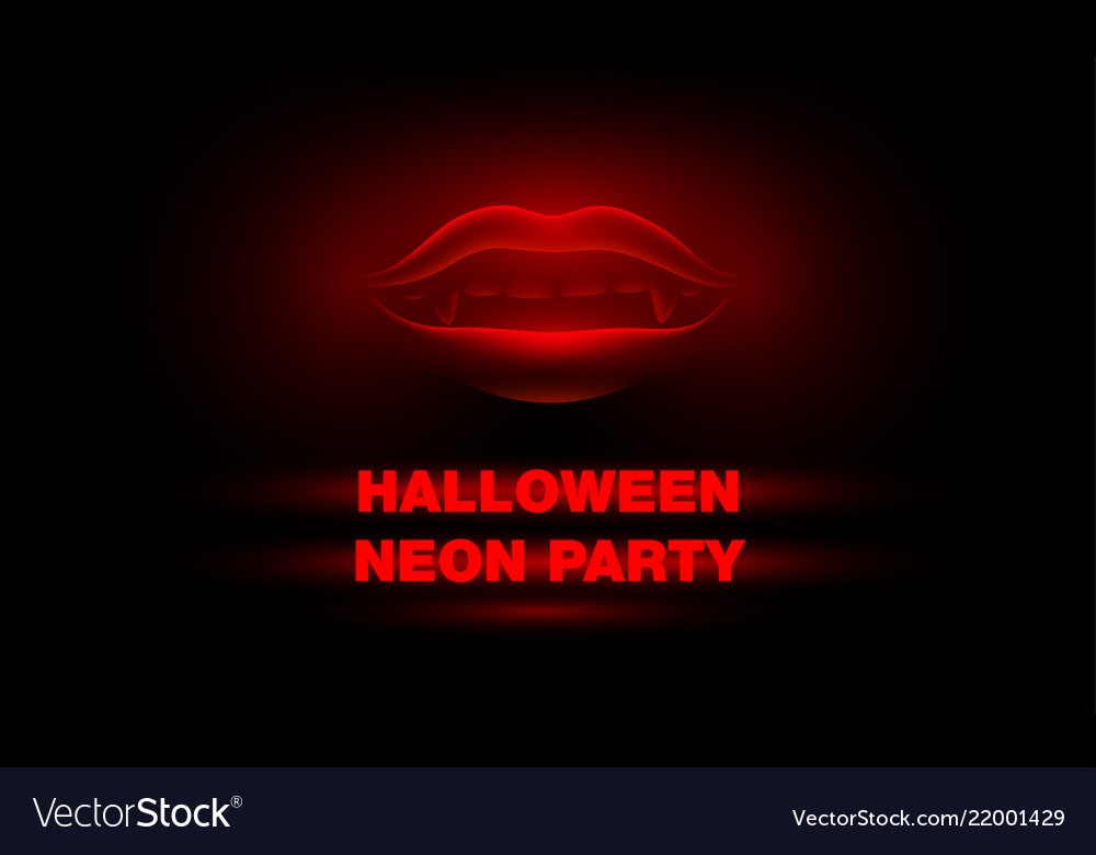 Glowing vampire mouth on a black background