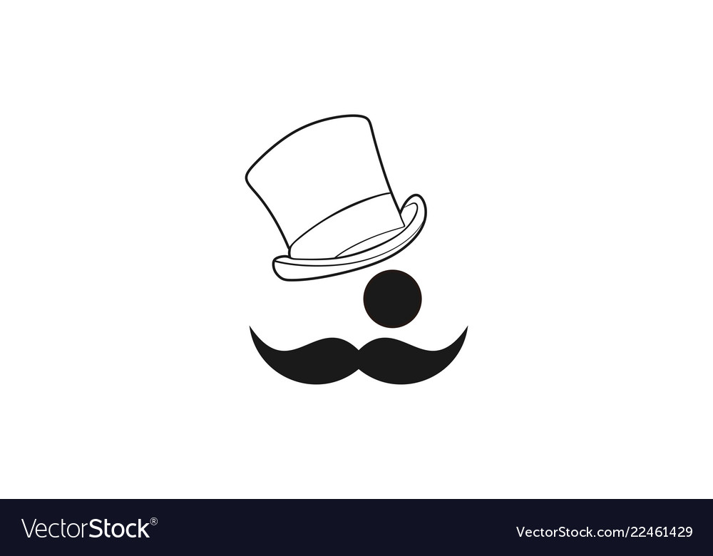 Mustache hat man logo designs inspiration