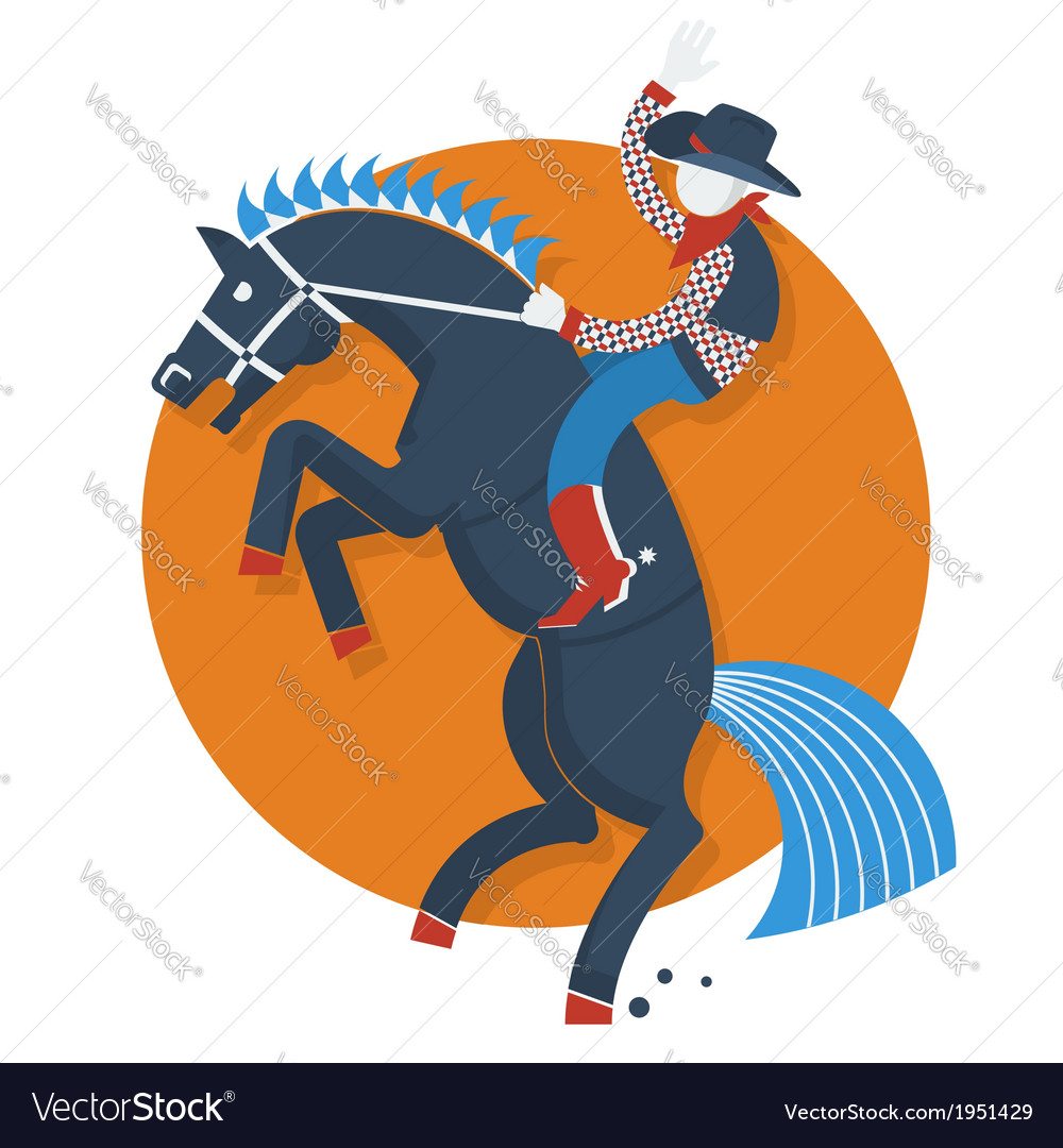 Rodeo posterCowboy on horse with text isolated on