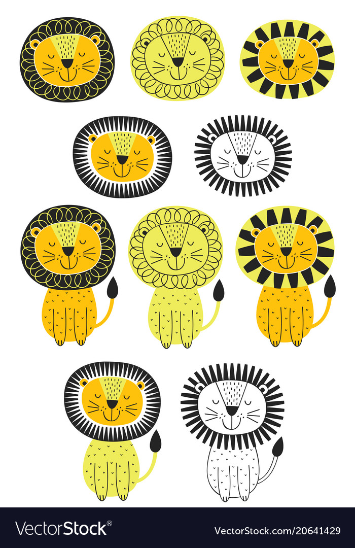 Set of isolated lion in scandinavian style vector image