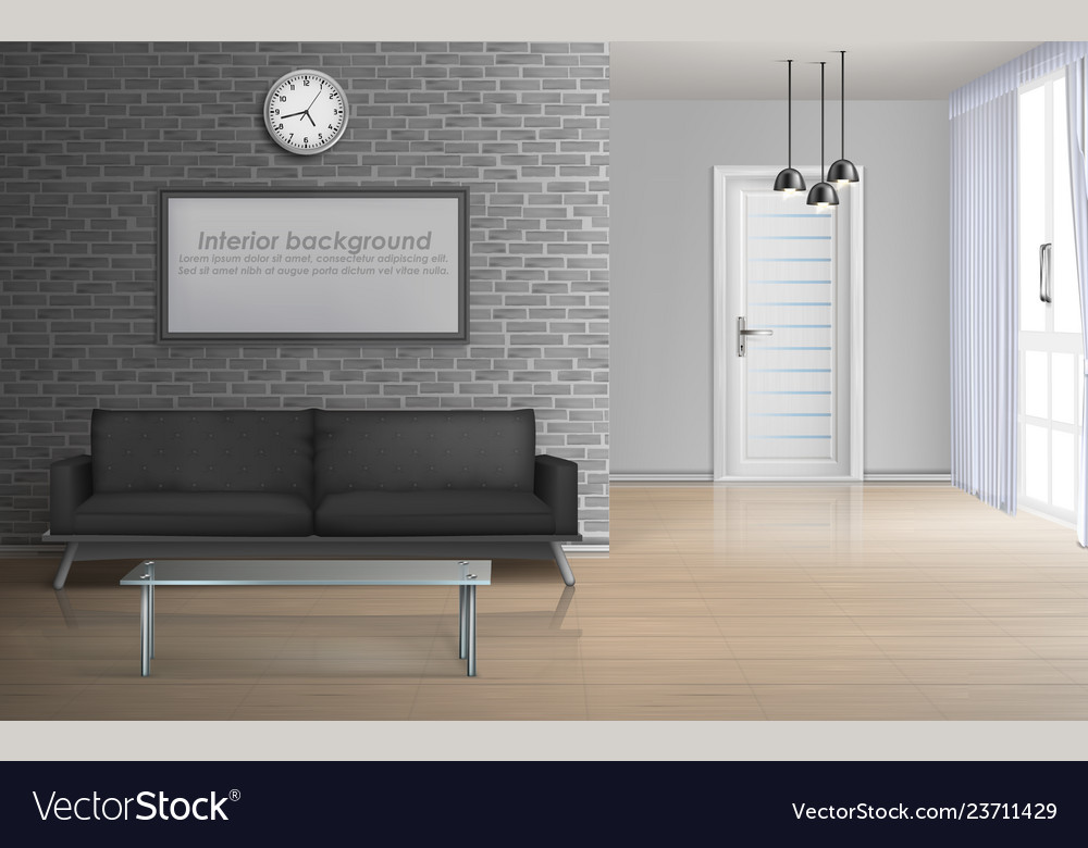 Spacious living room realistic interior