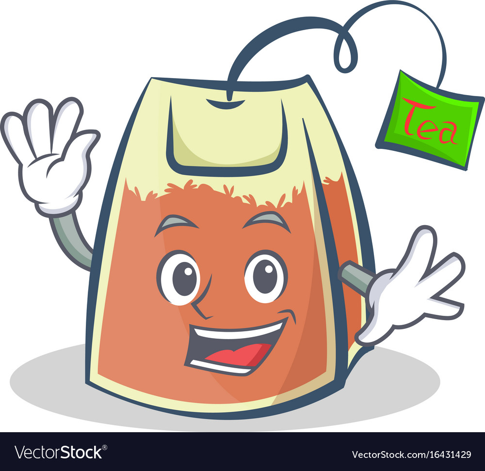 Waving tea bag character cartoon