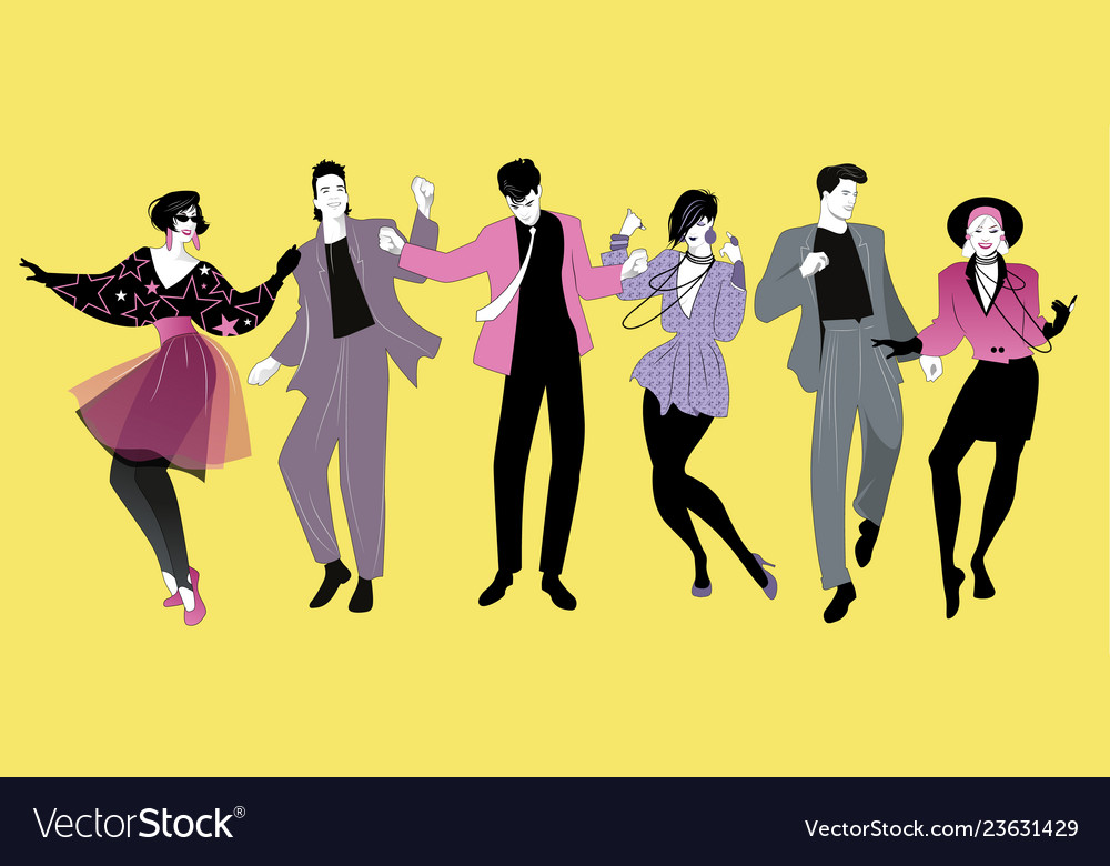 Young people dancing new wave music wearing