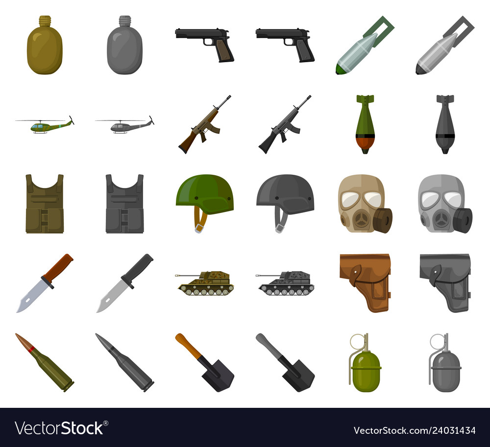 Army and armament cartoonmonochrom icons in set