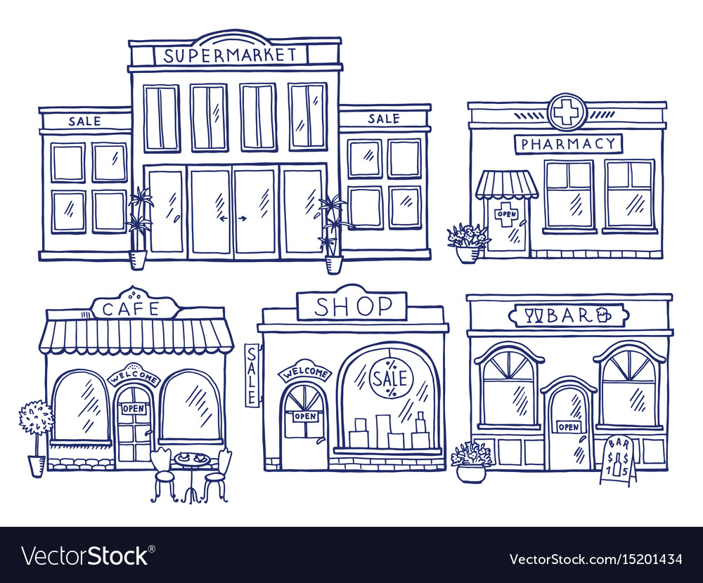 Buildings facade front view shop cafe mall and