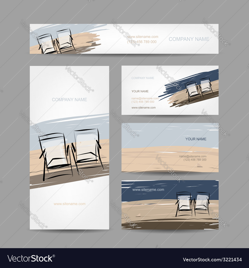 Business cards design chairs on the beach Vector Image