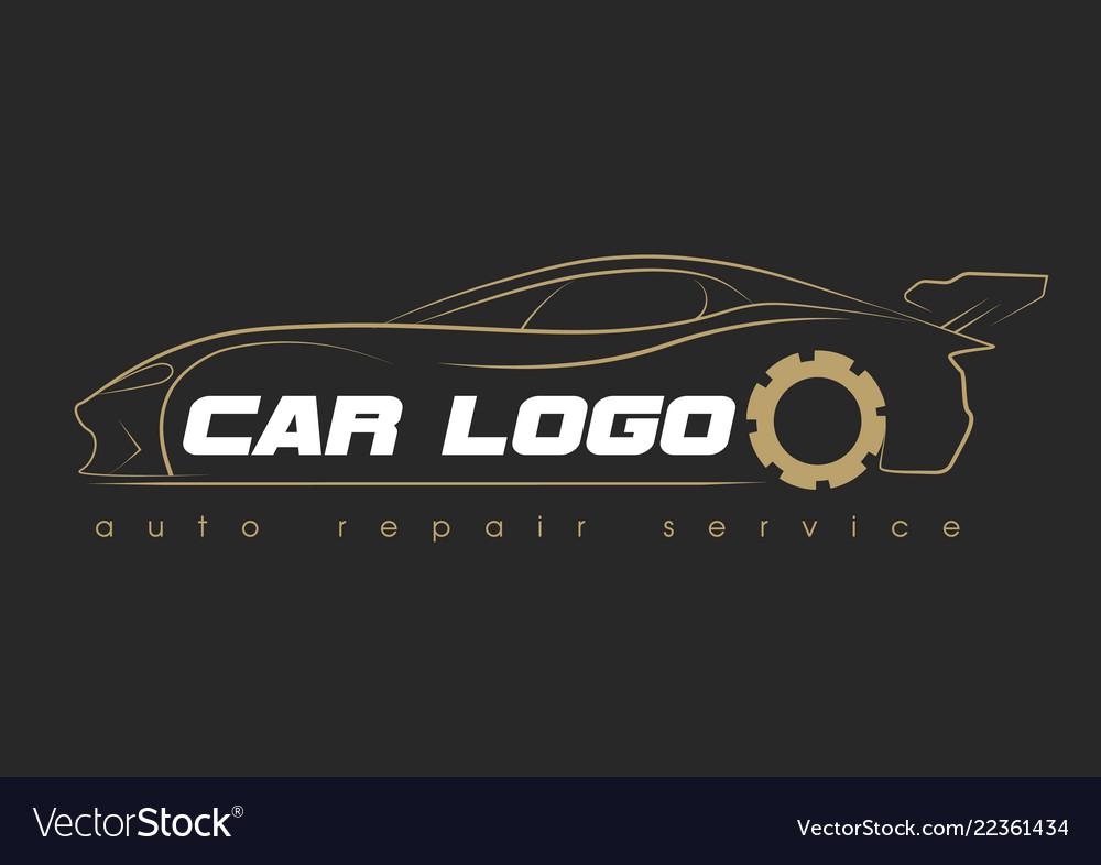 Car service logo template design icon or label