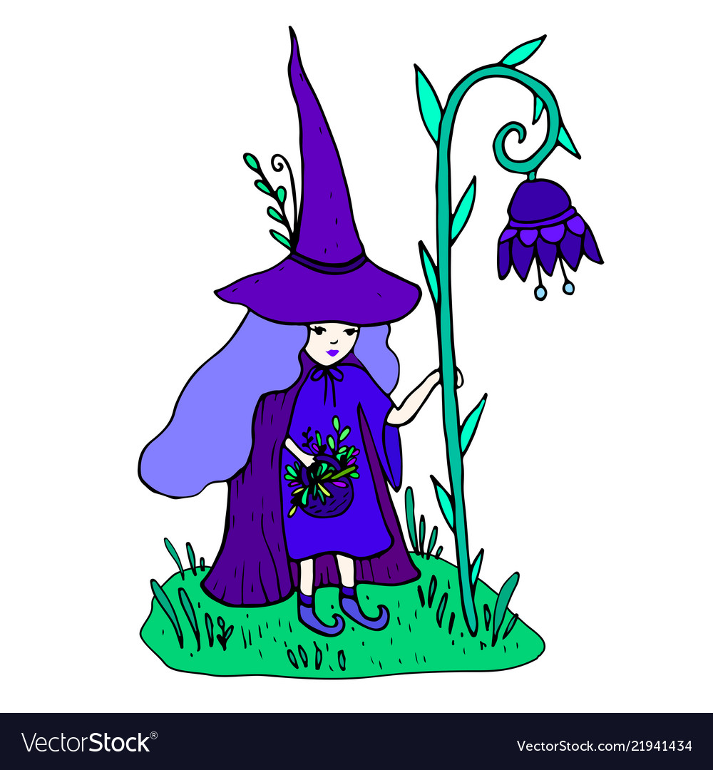 Colorful little sorceress with a staff in form