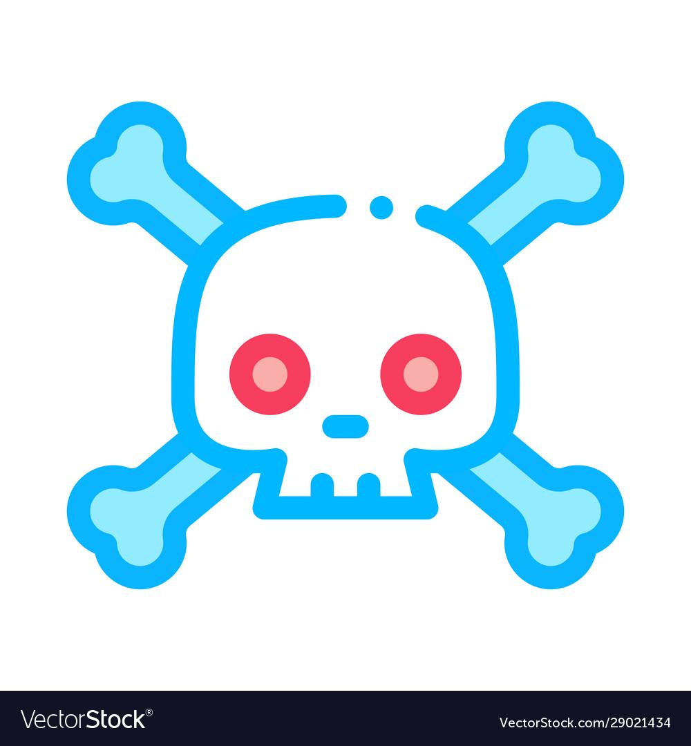 Cross bones skull icon outline
