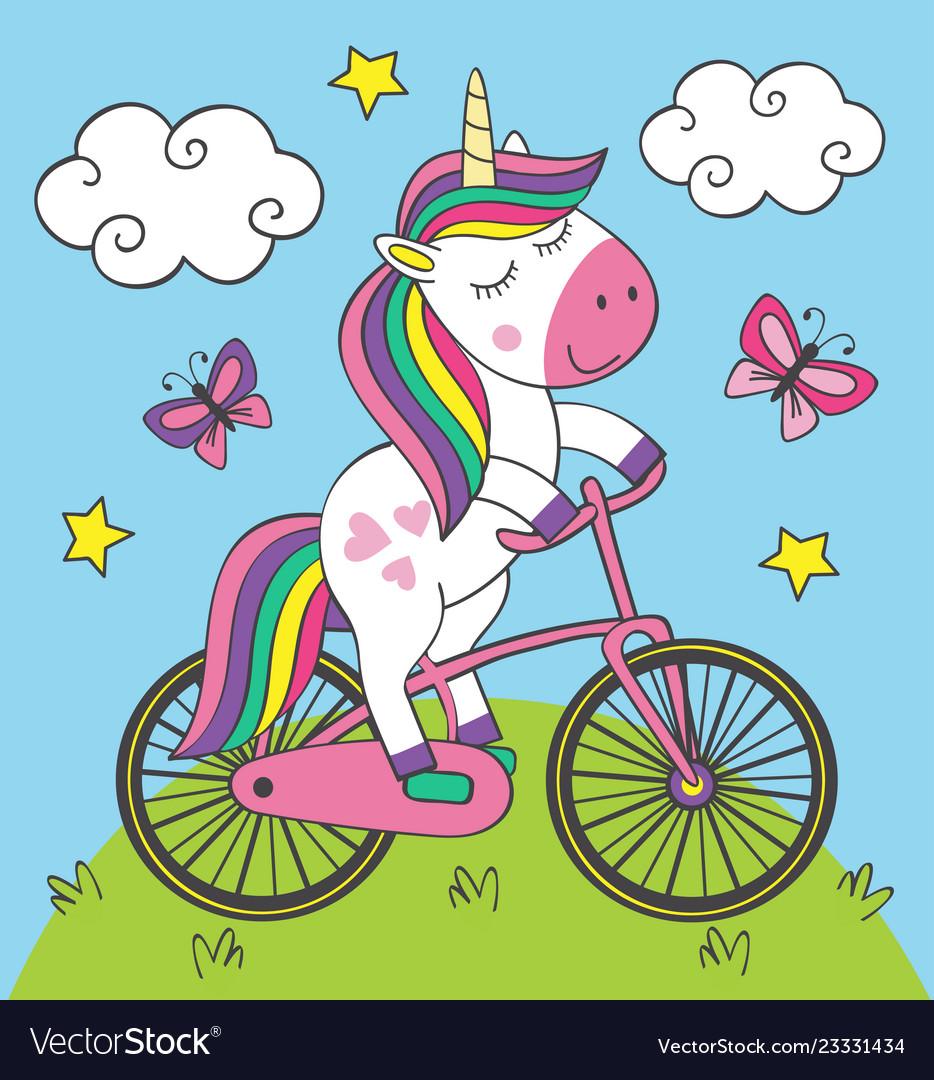 Cute little unicorn rides bicycle