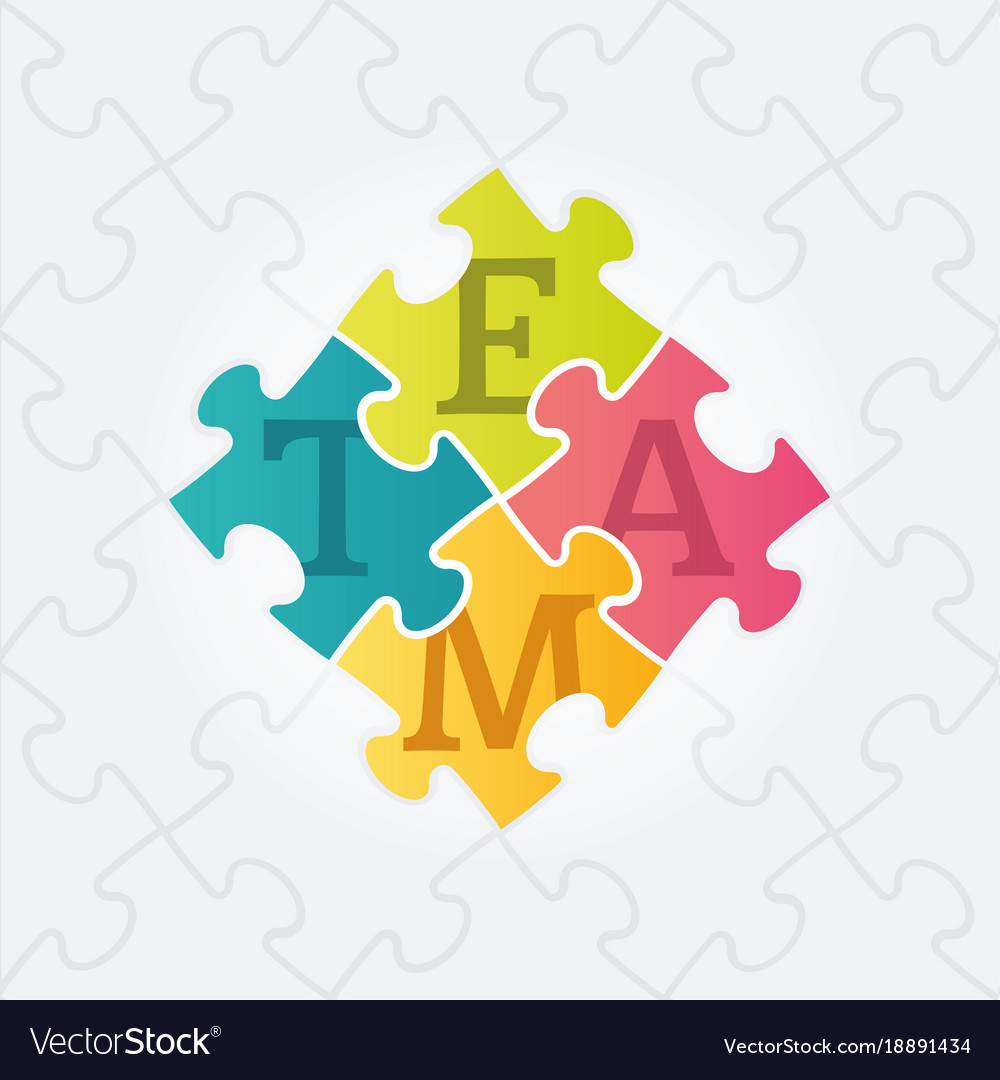 Four jigsaw puzzle pieces with team word