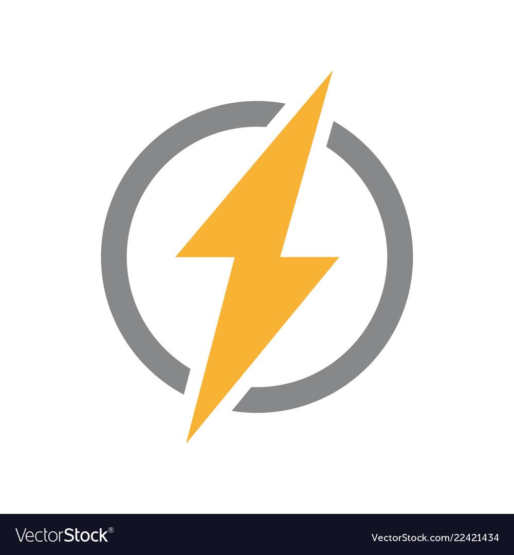 Lightning bolt with circle logo unique