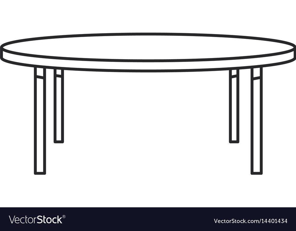 Round Table Wood Furniture Outline Vector Image