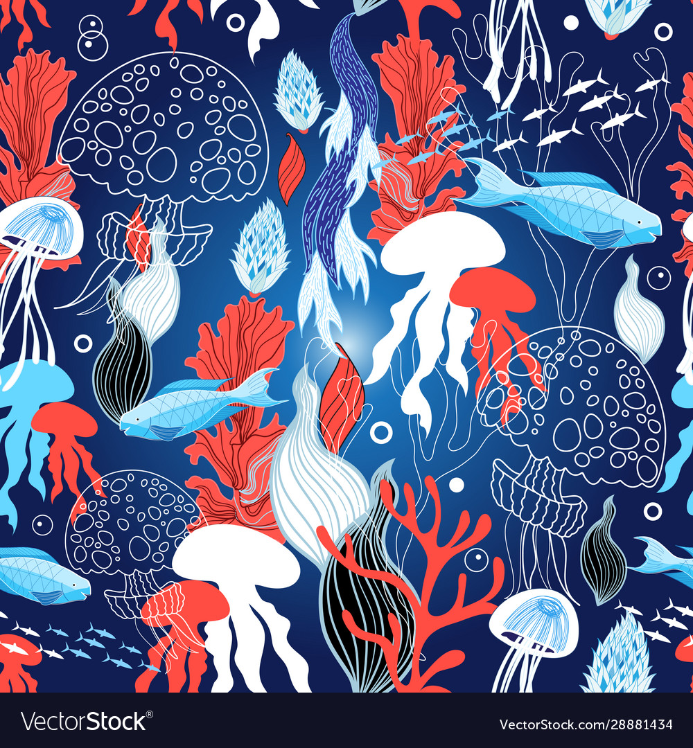 Seamless sea pattern with jellyfish and fish