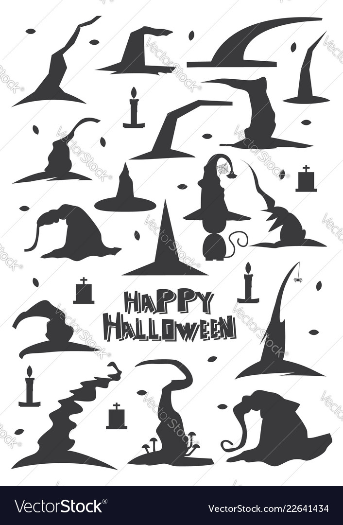 Witch hats set isolated on white background